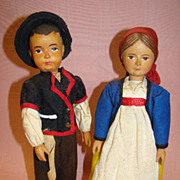 Pair of 10 In. Swiss Hand-carved Wood Dolls, Original