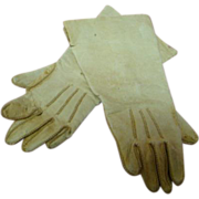 REDUCED 4-1/4 In. Original Soft Leather Doll Gloves, Topstitching