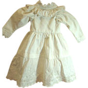 Antique Brocade and Embroidered Cotton Doll Dress