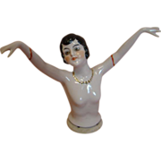 4 In. German Half Doll with Arms Away, Nude Body, Gold Necklace