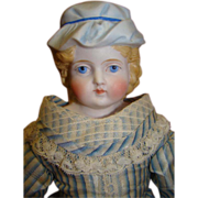 REDUCED ABG Parian Type Bisque Lady with Molded Hat, Leather Body