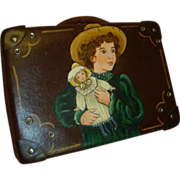 Beautifully Old Hand Painted Leather Child-size Suitcase for a Doll