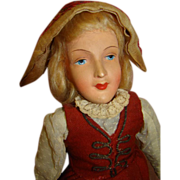 Unidentified Beautiful All Original Mache or Composition German Doll