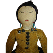 18 In. Antique American Native Indian Cloth Doll, Original,