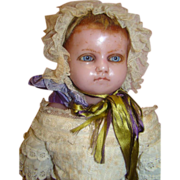 REDUCED 21 In. English Poured Wax Doll, Cloth Body, Set-in Hair