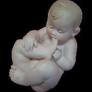 Adorable and Rare Toe-sucking Nude Gebruder Heubach Piano Baby