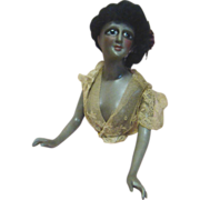 6-1/4 In. Scarce and Beautiful Black Half Doll, Jointed Arms