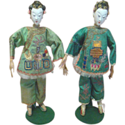 Two Beautiful 10-1/2 In. Original Chinese Opera Dolls