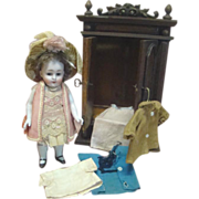 9 In. Chunky All Bisque German Doll #208 by Kestner, Antique Wooden Wardrobe and Extra ...