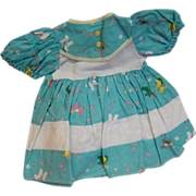 Factory Cotton Pique Dress for Composition or Hard Plastic - Horses and Flowers Print