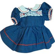 Adorable Factory Cotton Dress in Red, White and Blue