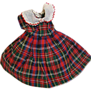 SOLD Factory Plaid Cotton Dress with Attached Eyelet Petticoat for One of the 10-inch Fashion
