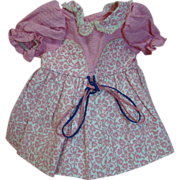 Factory Crisp Bright Pink Flocked Cotton Dress with Waffle Pique Top, Beautiful Little Doll ..