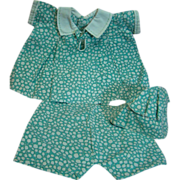 3 Piece Outfit for Chubby Composition Doll, 1930's or Early 40's, Dress, Panties, Lined Hat