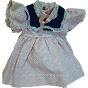 Beautiful Factory Pink and Navy Cotton High Waist Dress with Butterfly Sleeves and Lace Trim