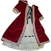 Lovely Vintage Cotton Eyelet and Cotton Velveteen Outfit for an 18-20 In. Doll