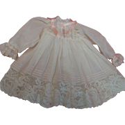 Lovely Ecru Airy Cotton Lace and Ribbon Trimmed Dress for Antique Doll Approximately 14-16 In.