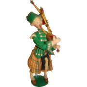 12.5 In. Klumpe Cloth Bagpipe Player, Made in Spain, Distributed by Effanbee, Original