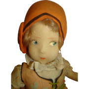 18 In. Vintage French Eugene Poir Felt Doll, Mohair Wig, Painted Features, Stuffed Body, ...
