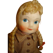 13 In. Georgene Novelties 1930's-40's Brownie Doll, Molded Cloth Face, All Original ...
