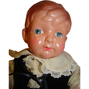 12 In. All Celluloid Tommy Tucker Character Boy Doll, Painted Eyes, Great Outfit, Molded Hair