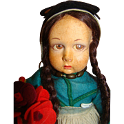 11 Inch Lenci Child Doll, 100% Original, Carrying a Pot of Colorful Flowers