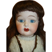 Pretty 25 In. Fulper Shoulder Head Doll, Riveted Leather Body, Bisque Hands