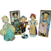 Lot of 5 Original 9 In. Cloth Baitz Dolls from Austria, All with Hang Tags, Two in Original La