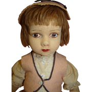 14.5 In. Original Vintage Felt and Cloth Lenci-Type Doll, Nicely Painted Features, Mohair Wig