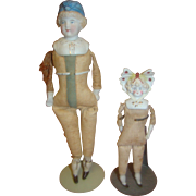 Lot of Two German Hatted or Bonnet Dolls ca: 1880-1920, Bisque Shoulder Heads, Cloth Bodies, B