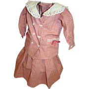 2 Pc. Skirt and Double Breasted Loose Fit Jacket / Top for Larger Antique Doll, Salmon / White