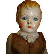 13.5 In. All Original German Metal Head Boy with Molded and Painted Hair, Sleep Eyes, Excellen