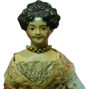 8 In. Original Molded Hair Papier-Mache Milliners' Model with Side Curls and High Beehive ...