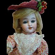 "12"" German ""Globe Baby"" Child Doll by Carl Hartmann, Pierced Ears, Wood and Com"