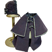Adorable Vintage Cape Coat and Hat for a Cabinet Size Doll 12-14 Inches Tall, Lined, Hand-Stit
