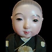 20th c. Ichimatsu Japanese Vintage Gofun Doll, Glass Eyes, Original in Silk and Brocade Kimono