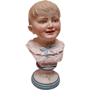 12 In. Antique Porcelain Bust of Young Boy with Blond Hair, Blue Intaglio Eyes with ...