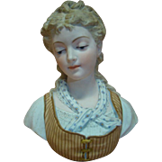 Breathtaking Piece of Art in a 12 In. Porcelain Bust of a Young Lady with ...