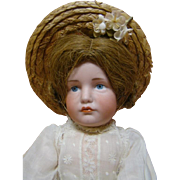 13-1/2 Inch German Character Pouty Gretchen, Mold #114 by Kammer & Reinhardt, Beautiful Blue .