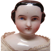 12-1/2 In. 1860's China Shoulder Head Doll with Center Part, Side Curls ...