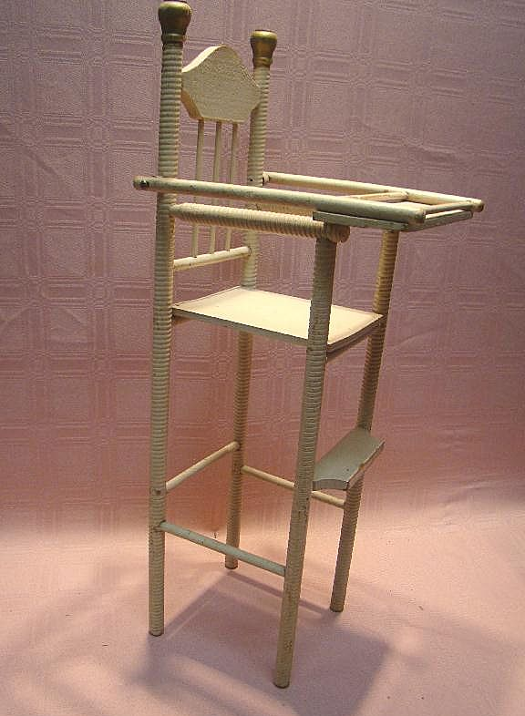 Antique Wooden High Chair For 12 15 Inch Doll Spiral