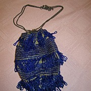 SALE Stunning Blue Glass Beaded Vintage Purse, 1920's, Great Style!