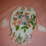 SALE 1920's Hand Made Glass Beaded Purse, Made in Belgium for Joske Bros.