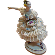 SALE German Dresden Porcelain Figurine of Lady with Fan and Comb in her Hair