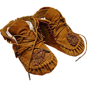 SALE Authentic Antique Leather Moccasin Style Doll Shoes