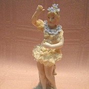 SALE Lovely Porcelain Ballerina with Dresden lace and Flowers
