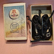 "SOLD Antique German Doll Shoes in Original Box Labeled ""Shoe Soap Kid"""