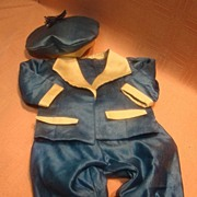 SALE Vintage Silk Satin Two Pc Suit and Matching Tam for Antique Male Doll