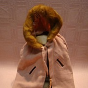 SALE Old Hand Sewn Wool Cape with Fur Trimmed Hood, Fur Muff for Antique Doll