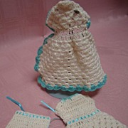 SALE 3 Pc Vintage Knitted Outfit for 6-6-1/2 In Antique Doll